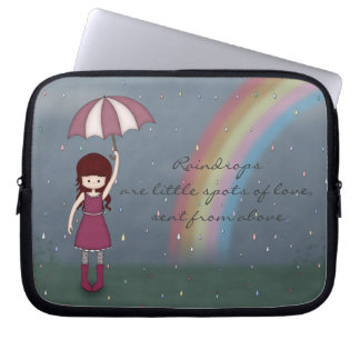 Whimsical Young Girl Standing in Colorful Rain Laptop Sleeve