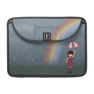 Whimsical Young Girl Standing in Colorful Rain Sleeves For MacBooks