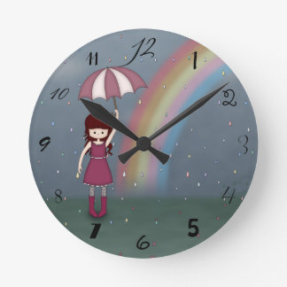 Whimsical Young Girl Standing in Colorful Rain Round Clock