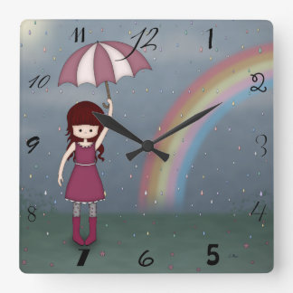 Whimsical Young Girl Standing in Colorful Rain Square Wall Clock
