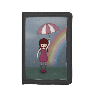 Whimsical Young Girl Standing in Colorful Rain Trifold Wallet