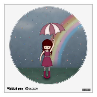 Whimsical Young Girl Standing in Colorful Rain Wall Decal