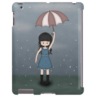 Whimsical Young Girl Standing in the Rain