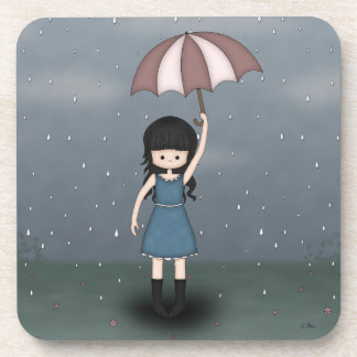 Whimsical Young Girl Standing in the Rain Beverage Coaster