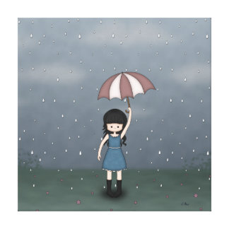 Whimsical Young Girl Standing in the Rain Gallery Wrap Canvas