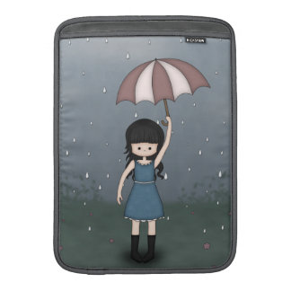 Whimsical Young Girl Standing in the Rain MacBook Sleeves