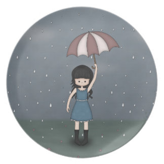 Whimsical Young Girl Standing in the Rain Dinner Plates