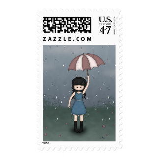 Whimsical Young Girl Standing in the Rain Postage