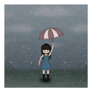 Whimsical Young Girl Standing in the Rain Poster