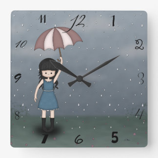Whimsical Young Girl Standing in the Rain Square Wall Clock