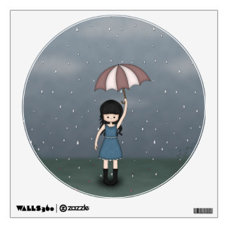 Whimsical Young Girl Standing in the Rain Wall Sticker