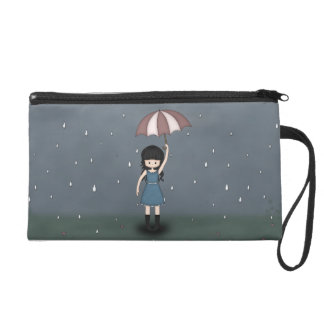 Whimsical Young Girl Standing in the Rain Wristlet Purse