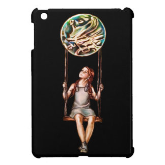 Whimsical Young Girl Swinging on Blur Orb iPad Mini Cover