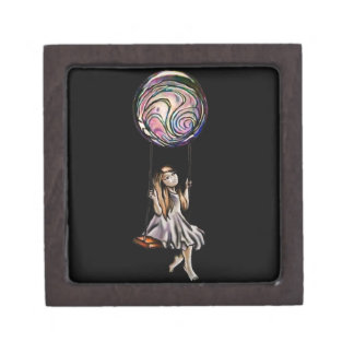 Whimsical Young Girl Swinging on Purple Orb Gift Box