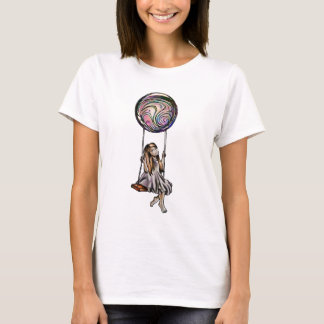 Whimsical Young Girl Swinging on Purple Orb T-Shirt