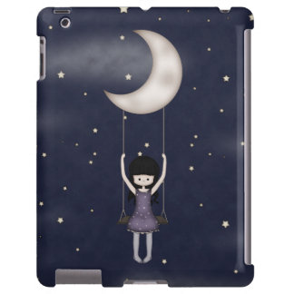 Whimsical Young Girl Swinging on the Moon