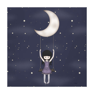 Whimsical Young Girl Swinging on the Moon Canvas Print
