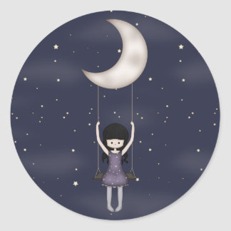 Whimsical Young Girl Swinging on the Moon Classic Round Sticker