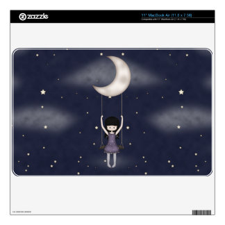 Whimsical Young Girl Swinging on the Moon Decal For MacBook Air