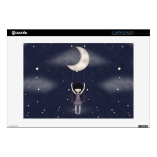 """Whimsical Young Girl Swinging on the Moon Decals For 13"""" Laptops"""