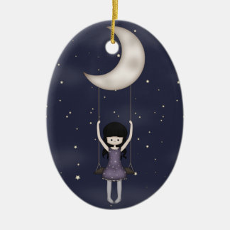 Whimsical Young Girl Swinging on the Moon Double-Sided Oval Ceramic Christmas Ornament