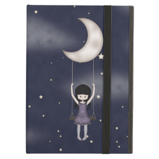 Whimsical Young Girl Swinging on the Moon iPad Air Cases