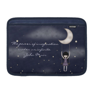 Whimsical Young Girl Swinging on the Moon Sleeve For MacBook Air