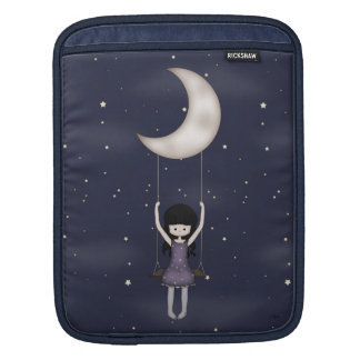 Whimsical Young Girl Swinging on the Moon Sleeve For iPads