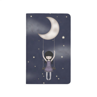 Whimsical Young Girl Swinging on the Moon Journal