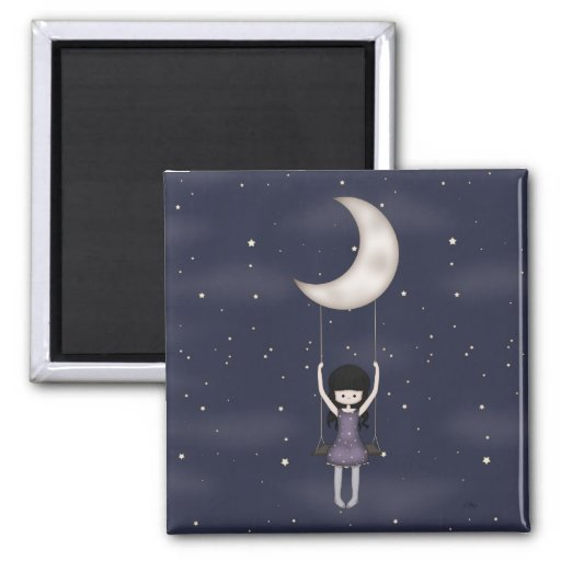 Whimsical Young Girl Swinging on the Moon Magnet