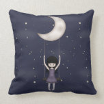 Whimsical Young Girl Swinging on the Moon Pillow