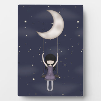 Whimsical Young Girl Swinging on the Moon Plaque