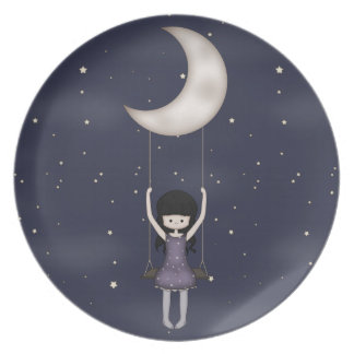 Whimsical Young Girl Swinging on the Moon Party Plate