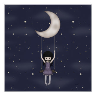 Whimsical Young Girl Swinging on the Moon Poster
