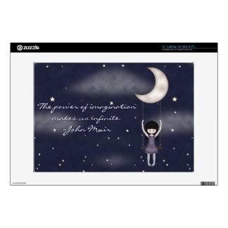 """Whimsical Young Girl Swinging on the Moon 13"""" Laptop Skins"""