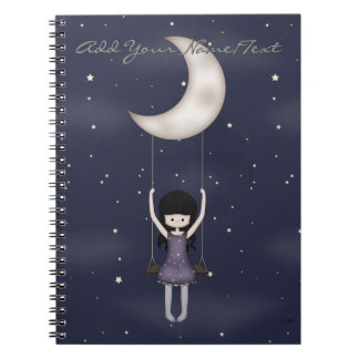 Whimsical Young Girl Swinging on the Moon Spiral Notebook