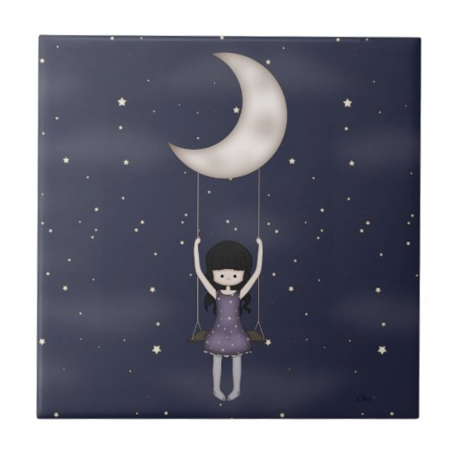 Whimsical Young Girl Swinging on the Moon Small Square Tile