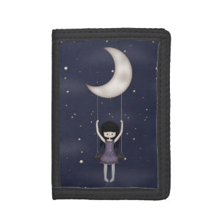 Whimsical Young Girl Swinging on the Moon Trifold Wallets