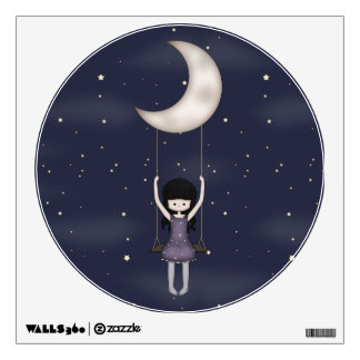 Whimsical Young Girl Swinging on the Moon Wall Decal