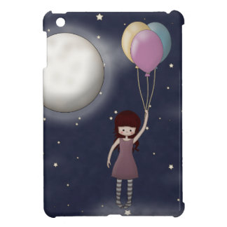 Whimsical Young Girl with Balloons Flying iPad Mini Covers