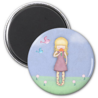 Whimsical Young Girl with Bouquet of Flowers 2 Inch Round Magnet