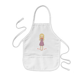 Whimsical Young Girl with Bouquet of Flowers Kids' Apron