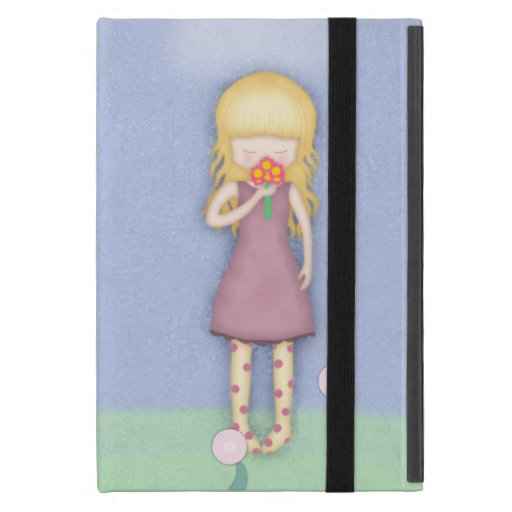 Whimsical Young Girl with Bouquet of Flowers Cases For iPad Mini