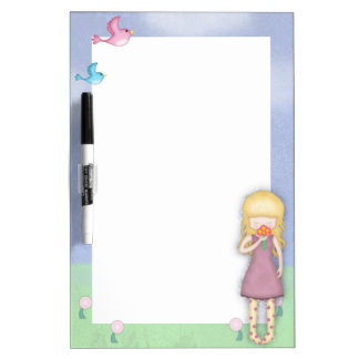 Whimsical Young Girl with Bouquet of Flowers Dry Erase Board