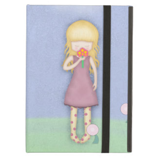 Whimsical Young Girl with Bouquet of Flowers iPad Air Cases