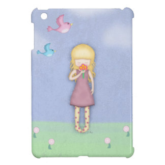 Whimsical Young Girl with Bouquet of Flowers iPad Mini Cover