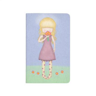 Whimsical Young Girl with Bouquet of Flowers Journal