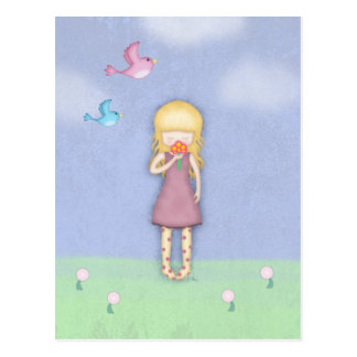 Whimsical Young Girl with Bouquet of Flowers Postcards