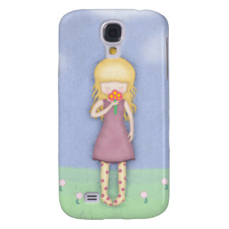 Whimsical Young Girl with Bouquet of Flowers Samsung S4 Case