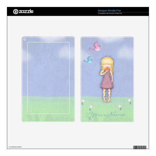 Whimsical Young Girl with Bouquet of Flowers Skins For Kindle Fire